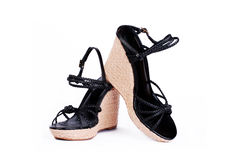 The pair of fashion ladies wedge-heeled sandals Stock Images