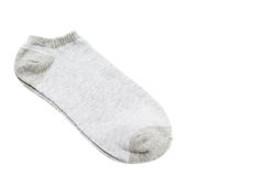 Pair of fashionable striped short socks isolated on white Royalty Free Stock Images