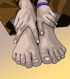 Pair of feet and hands. Female bare feet and hands posed together Royalty Free Stock Photos