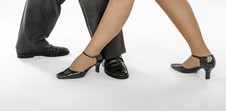 Pair feet show tango step Royalty Free Stock Photos