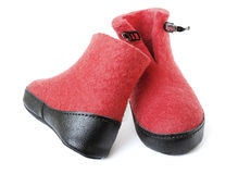 Pair of felt boots bright red color Royalty Free Stock Image