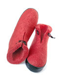 Pair of felt boots bright red color Stock Photo