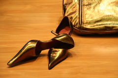 Pair of female high shoes. Pair of female shoes high hills Royalty Free Stock Photos