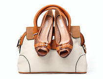 Pair of female shoes and handbag Royalty Free Stock Photo