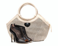 Pair of female shoes and handbag over white Royalty Free Stock Image