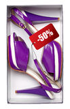 Pair of female violet shoes in box Royalty Free Stock Image