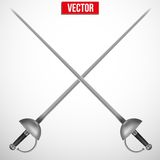 Pair of Fencing Rapiers. Realistic vector Illustration Royalty Free Stock Photography