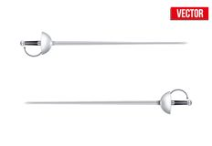Pair of Fencing Rapiers. Realistic vector. Pair of Fencing Rapiers with reflect and without reflect. Realistic Vector Illustration Royalty Free Stock Photo