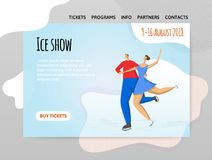 Pair figure skating, ice dancing. Man and woman. Vector illutration in abstract flat style, design template of sport. Site header, banner or poster Stock Image