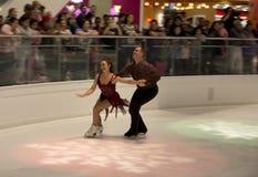 Pair figure skating performance on Galleria Dallas Royalty Free Stock Photo