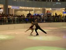 Pair figure skating performance on holiday Galleria Dallas Royalty Free Stock Images