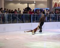 Pair figure skating performance on holiday Galleria Dallas Royalty Free Stock Photography
