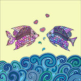 Pair of fish in love. Pair of  fish in love above the sea Royalty Free Stock Photos