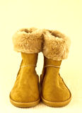 Pair of fleece lined boots Royalty Free Stock Image