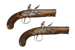Pair flintlock pistols old vintage and original Stock Photography