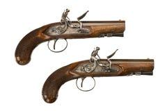 Pair flintlock pistols old vintage and original Stock Photography