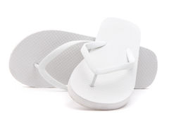 Pair of flip flops. Over white background royalty free stock photo