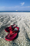 Pair of flip-flops on a beach Royalty Free Stock Image