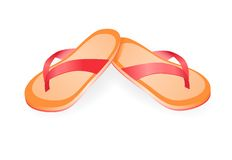 Pair of flip-flops isolated on a white background. Vector illustration. Stock Photography