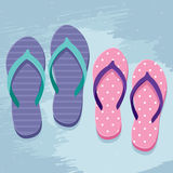 Pair of flip flops. Pair of mans and womens flip flops, illustration in flat design style on grunge background Stock Images