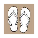 Pair of flip flops, summer time vacation attribute, slippers, shoes Stock Photos