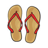 Pair of flip flops, summer time vacation attribute, slippers, shoes Stock Images