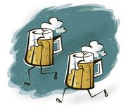 Foaming Beer Mugs with Legs on a Beer Run. A pair of foaming glass beer mugs with legs, running along in a vintage, retro-modern style vector illustration