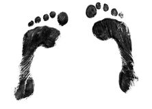 Pair of footprints. A pair of black ink footprints Royalty Free Stock Photos