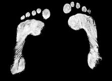 Pair of footprints. A pair of white footprints on black Royalty Free Stock Photography