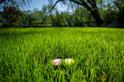 A pair of footprints model on the grass 2 royalty free stock photo