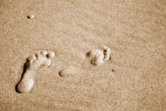 Pair footprints on a sand Royalty Free Stock Photo