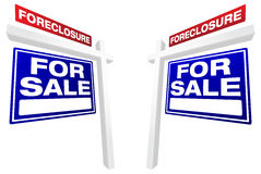 Pair of Foreclosure For Sale Real Estate Signs stock photography