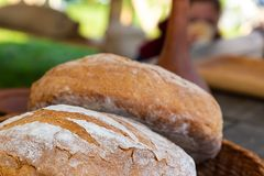 Pair of fresh round bread closeup of a delicious natural baker`s street counter royalty free stock photography