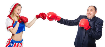 The pair in funny boxing concept Stock Image