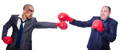 The pair in funny boxing concept Royalty Free Stock Photography