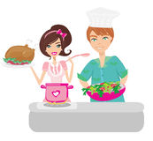 Pair of funny cooks on white Royalty Free Stock Photos