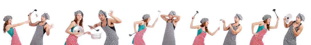 The pair of funny cooks on white Royalty Free Stock Photo
