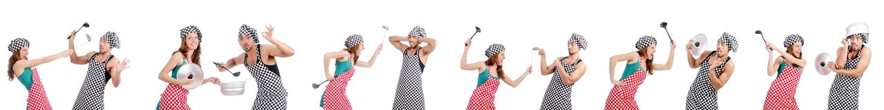 The pair of funny cooks on white Stock Photo