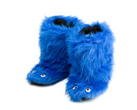 Pair Funny Fur Home Boots With Decorative Eyes. Stock Photo