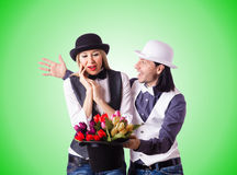 Pair in funny love concept Stock Photo