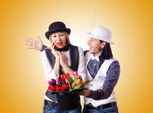 Pair in funny love concept Stock Image