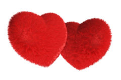 Pair of furry red heart Stock Photos