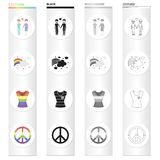 A pair of gays, a rainbow, a T-shirt, a sex minority, a rainbow sign of freedom. The sexual minority set collection. Icons in cartoon black monochrome outline Royalty Free Stock Image