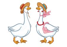 Pair of geese with a hat, sketch on a white background royalty free illustration