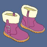 Pair of girl winter shoes Royalty Free Stock Photography