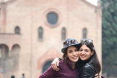 Pair of girlfriends on holiday in Bologna Royalty Free Stock Photo