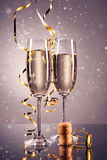 Pair glass of champagne. celebration theme Stock Image