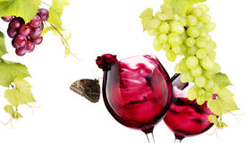 Pair of glass with red wine splash Stock Photography