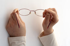 A pair of glasses. White background royalty free stock photography