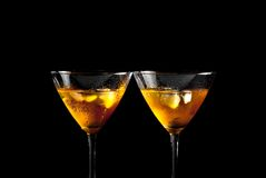 A pair of glasses of fresh cocktail with ice Stock Photography